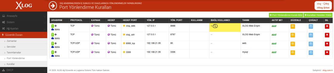 XLog port yönlendirme kuralı ekranı